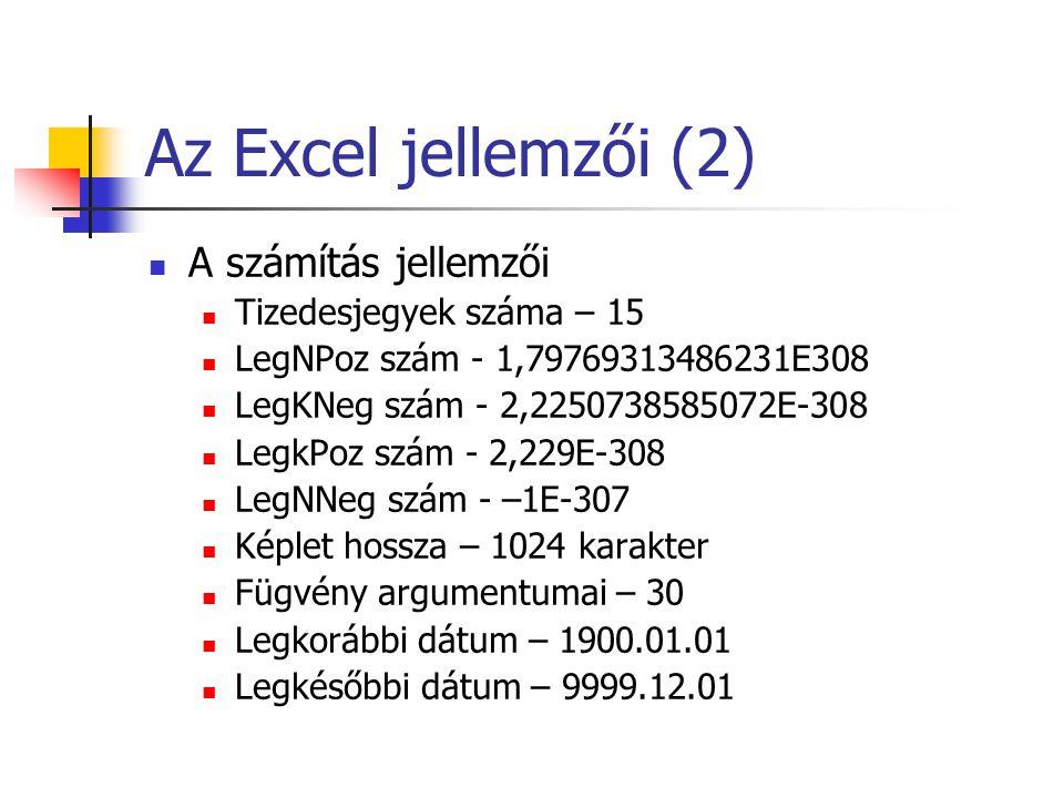 Az Excel jellemzői (2) A számítás jellemzői Tizedesjegyek száma – 15 LegNPoz szám - 1,79769313486231E308 LegKNeg szám - 2,2250738585072E-308 LegkPoz s