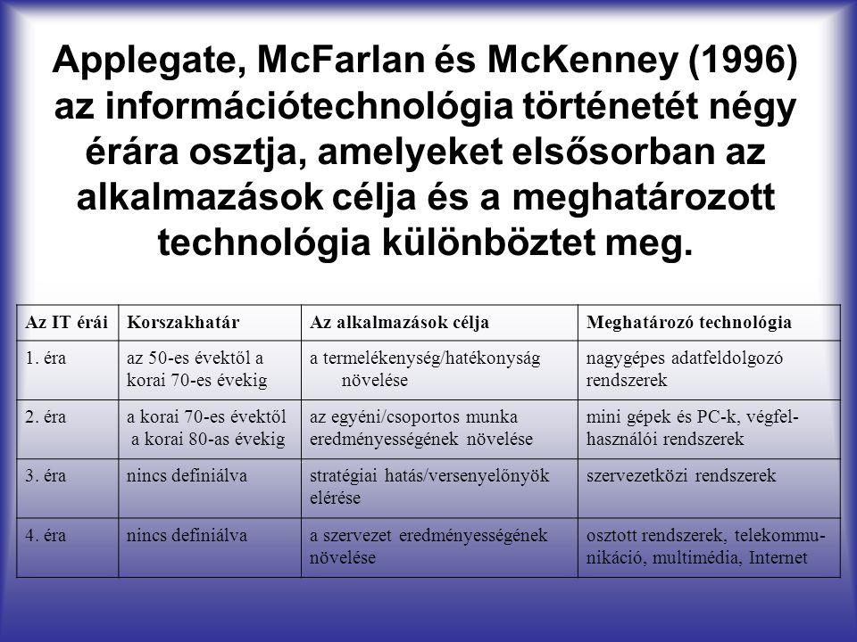 Applegate, McFarlan és McKenney (1996) az információtechnológia történetét négy érára osztja, amelyeket elsősorban az alkalmazások célja és a meghatár