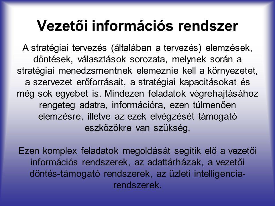 Vezetői információs rendszer A stratégiai tervezés (általában a tervezés) elemzések, döntések, választások sorozata, melynek során a stratégiai menedz