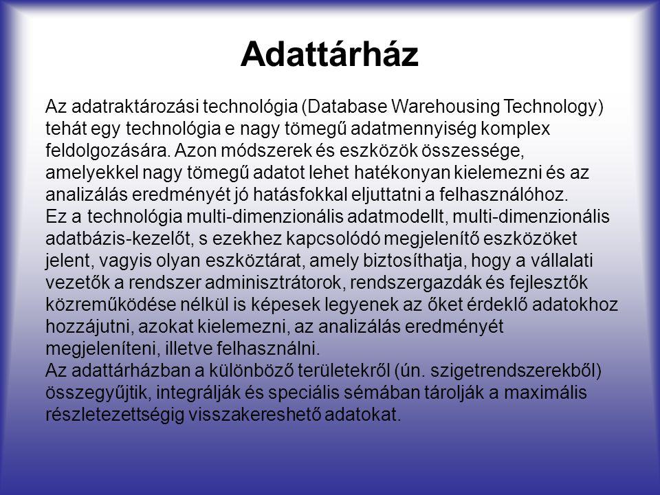 Adattárház Az adatraktározási technológia (Database Warehousing Technology) tehát egy technológia e nagy tömegű adatmennyiség komplex feldolgozására.
