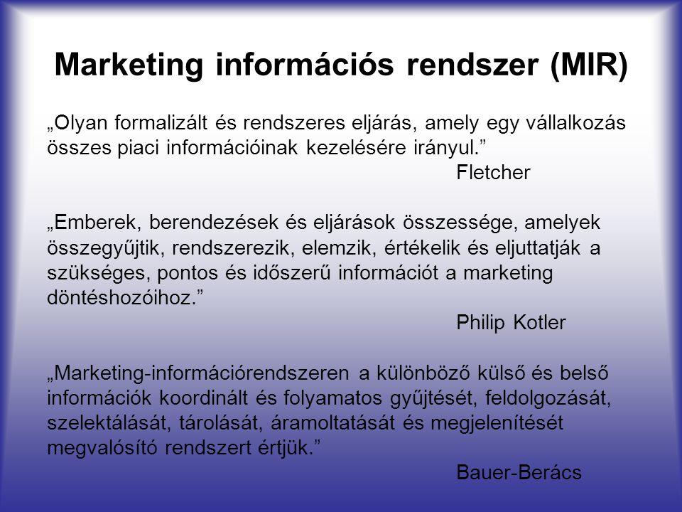 """Marketing információs rendszer (MIR) """"Olyan formalizált és rendszeres eljárás, amely egy vállalkozás összes piaci információinak kezelésére irányul."""""""
