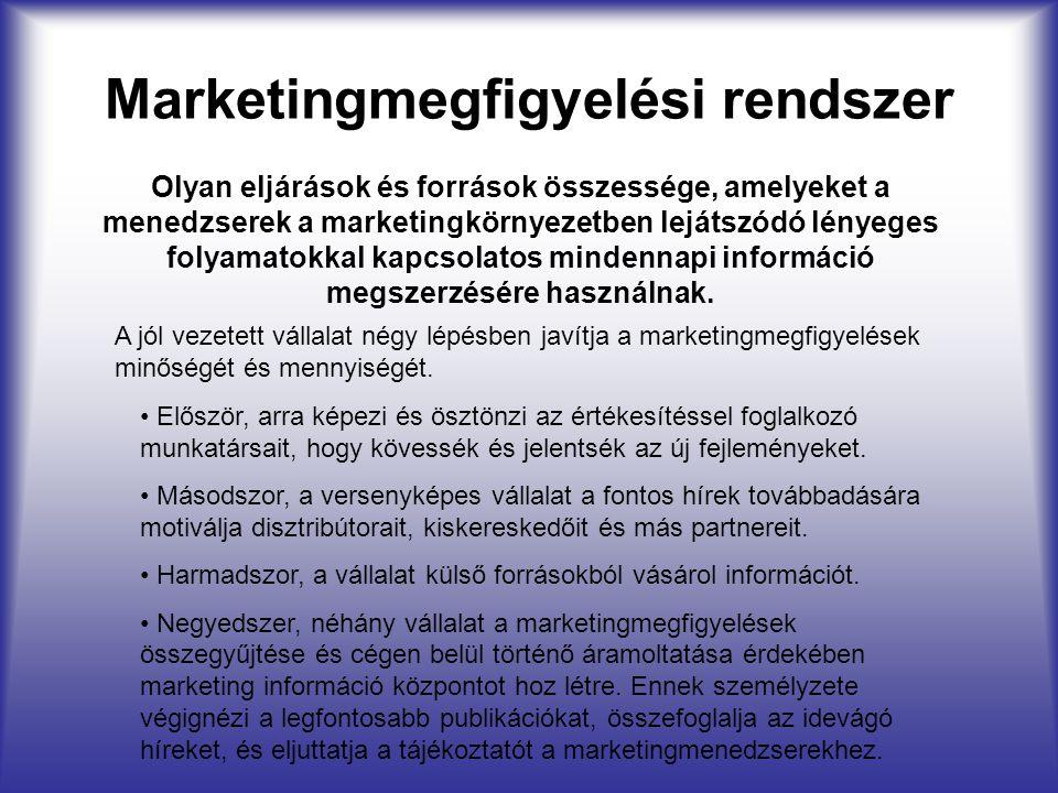 Marketingmegfigyelési rendszer A jól vezetett vállalat négy lépésben javítja a marketingmegfigyelések minőségét és mennyiségét. Olyan eljárások és for