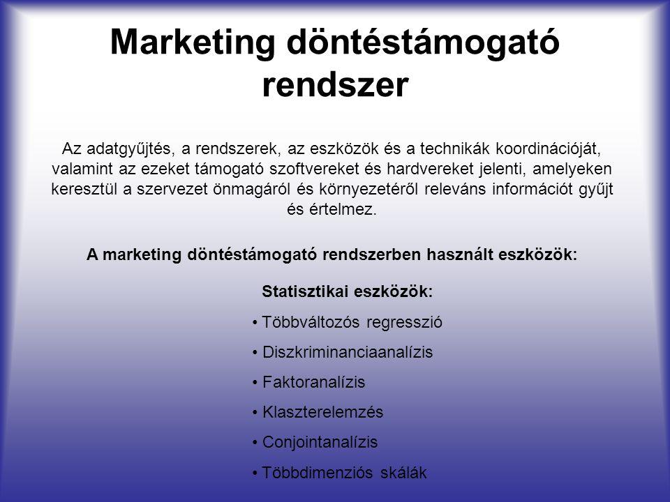 Marketing döntéstámogató rendszer Az adatgyűjtés, a rendszerek, az eszközök és a technikák koordinációját, valamint az ezeket támogató szoftvereket és