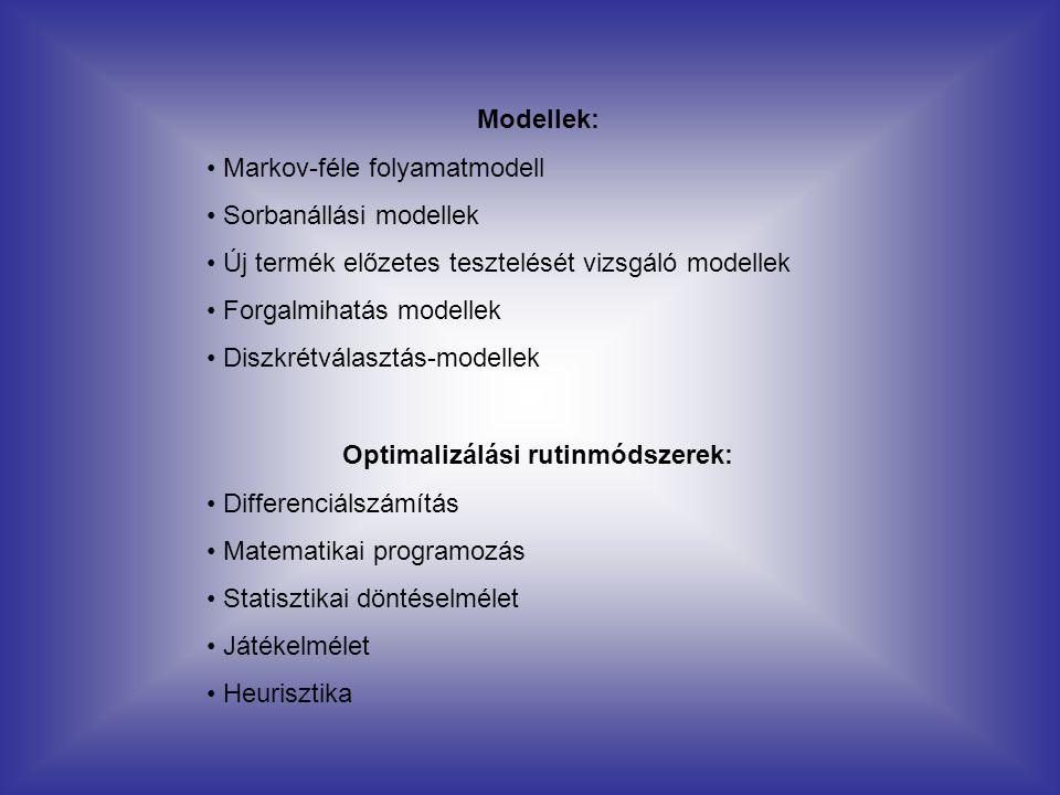 Modellek: Markov-féle folyamatmodell Sorbanállási modellek Új termék előzetes tesztelését vizsgáló modellek Forgalmihatás modellek Diszkrétválasztás-m