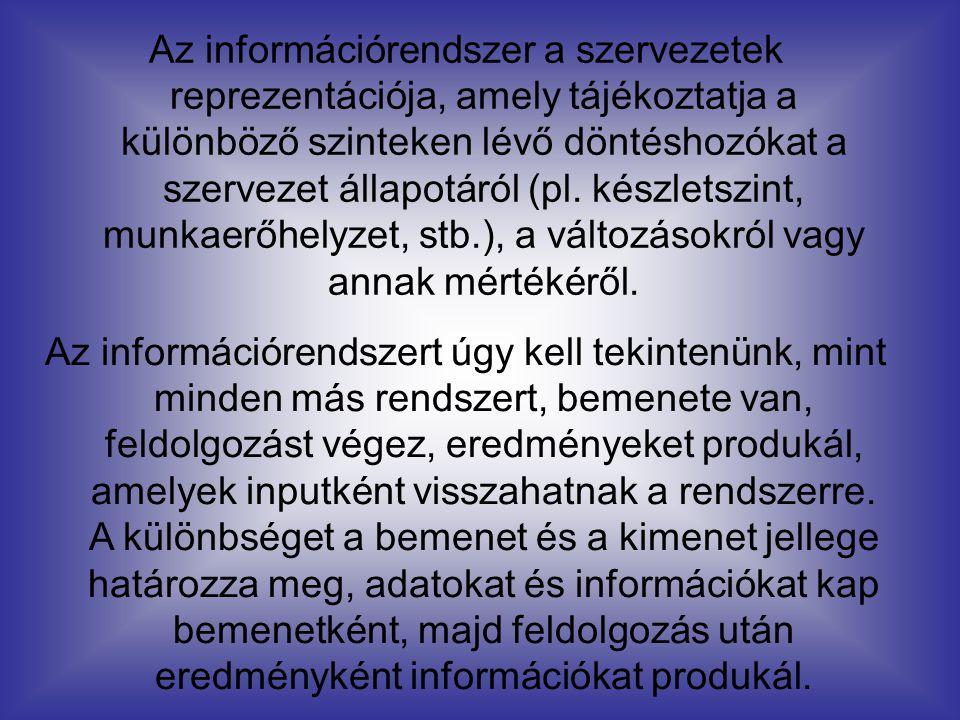 Az információrendszer a szervezetek reprezentációja, amely tájékoztatja a különböző szinteken lévő döntéshozókat a szervezet állapotáról (pl. készlets