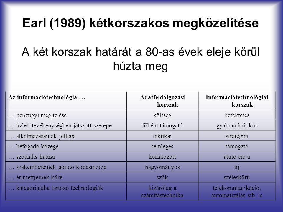 Earl (1989) kétkorszakos megközelítése A két korszak határát a 80-as évek eleje körül húzta meg Az információtechnológia …Adatfeldolgozási korszak Inf