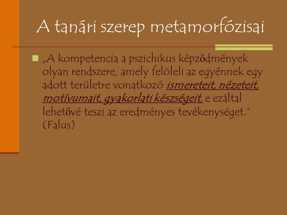 """A tanári szerep metamorfózisai """"A kompetencia a pszichikus képz ő dmények olyan rendszere, amely felöleli az egyénnek egy adott területre vonatkozó is"""