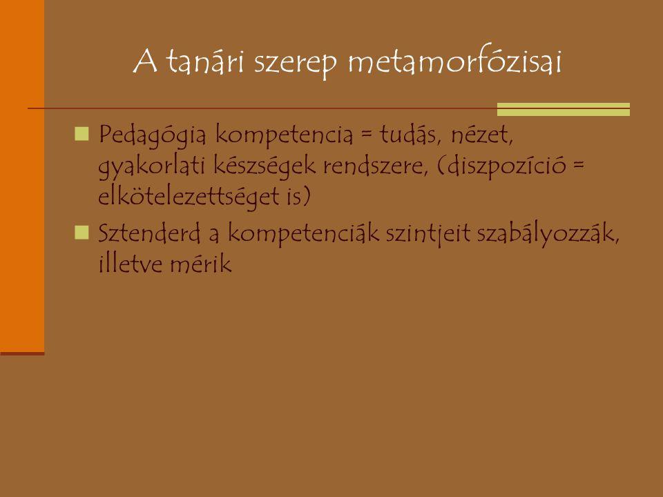 A tanári szerep metamorfózisai Pedagógia kompetencia = tudás, nézet, gyakorlati készségek rendszere, (diszpozíció = elkötelezettséget is) Sztenderd a