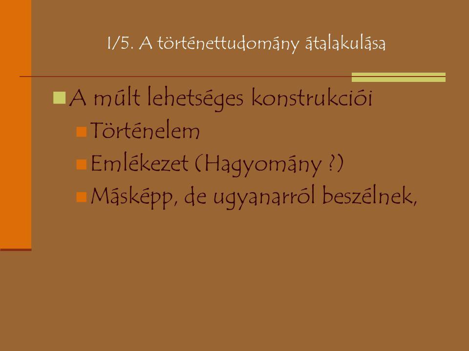 I/5. A történettudomány átalakulása A múlt lehetséges konstrukciói Történelem Emlékezet (Hagyomány ?) Másképp, de ugyanarról beszélnek,