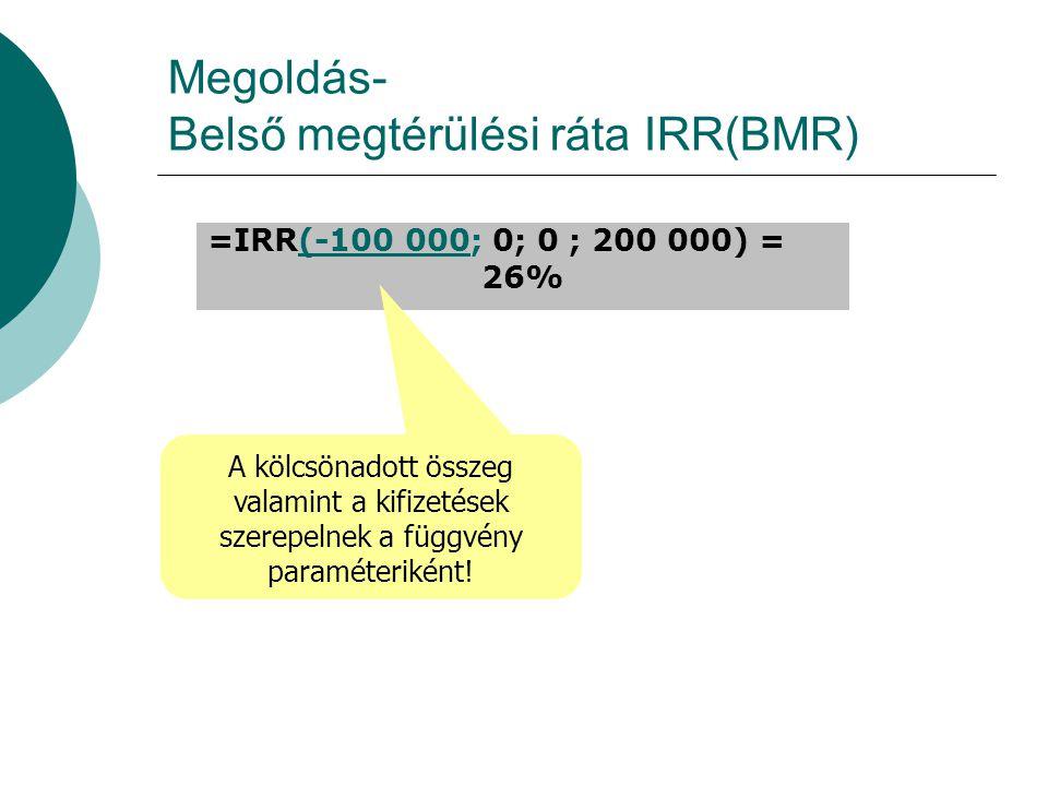 Megoldás- Belső megtérülési ráta IRR(BMR) =IRR(-100 000; 0; 0 ; 200 000) = 26% A kölcsönadott összeg valamint a kifizetések szerepelnek a függvény paraméteriként!