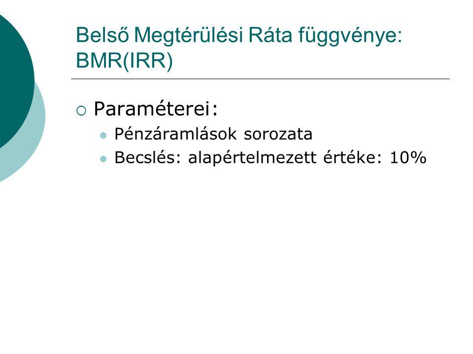 Belső Megtérülési Ráta függvénye: BMR(IRR)  Paraméterei: Pénzáramlások sorozata Becslés: alapértelmezett értéke: 10%