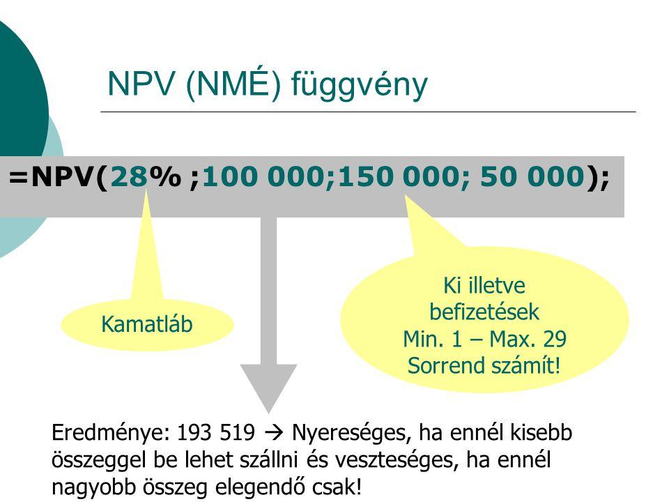 NPV (NMÉ) függvény =NPV(28% ;100 000;150 000; 50 000); Kamatláb Ki illetve befizetések Min.