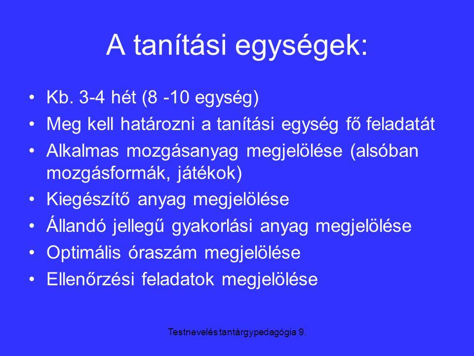 Testnevelés tantárgypedagógia 9. A tanítási egységek: Kb. 3-4 hét (8 -10 egység) Meg kell határozni a tanítási egység fő feladatát Alkalmas mozgásanya