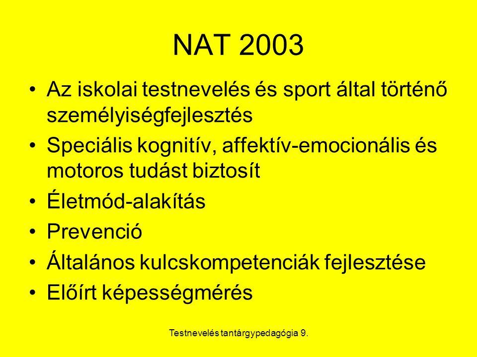 Testnevelés tantárgypedagógia 9. NAT 2003 Az iskolai testnevelés és sport által történő személyiségfejlesztés Speciális kognitív, affektív-emocionális