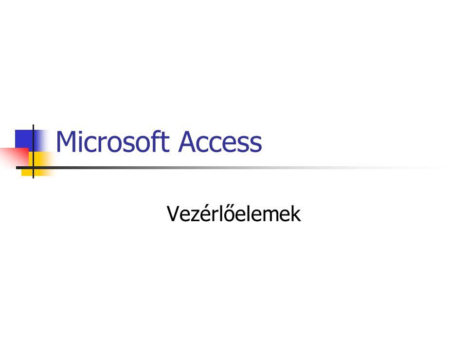 Microsoft Access Vezérlőelemek