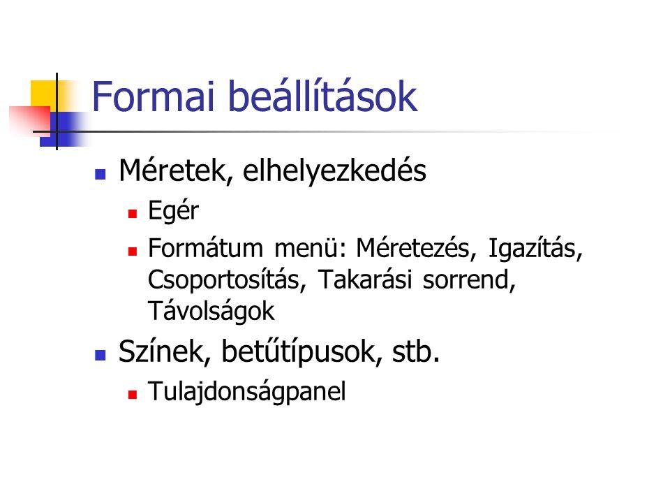 Formai beállítások Méretek, elhelyezkedés Egér Formátum menü: Méretezés, Igazítás, Csoportosítás, Takarási sorrend, Távolságok Színek, betűtípusok, stb.