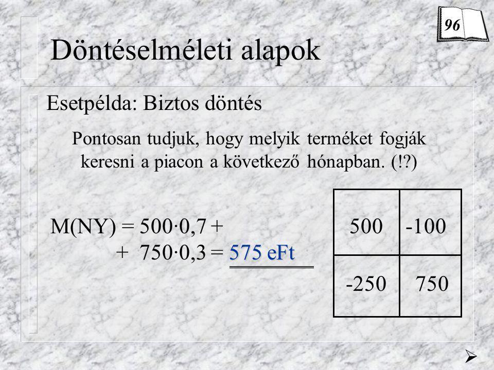 Döntéselméleti alapok Esetpélda: Biztos döntés 575 eFt M(NY) = 500·0,7 + + 750·0,3 = 575 eFt Pontosan tudjuk, hogy melyik terméket fogják keresni a pi
