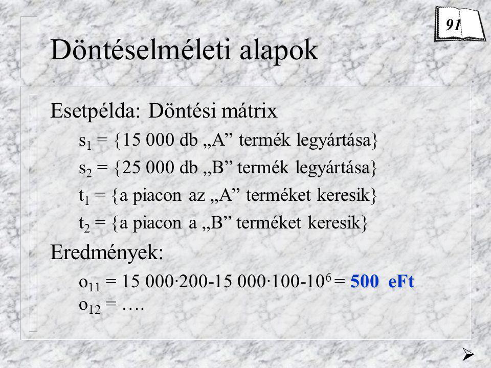 """Döntéselméleti alapok Esetpélda: Kockázatos döntés pótlólagos inf.-val 500-100 -250750 Ha a piackutatók az """"A -t jelzik: 446 eFt M(S 1 )= 500·0,91-100·0,09 = 446 eFt Ha a piackutatók a """"B -t jelzik: 520 eFt M(S 2 )= -250·0,23+750·0,77= 520 eFt Mennyi a várható nyereség."""