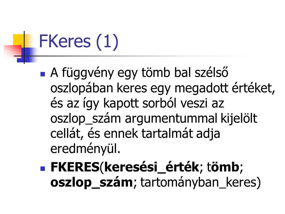 FKeres (2) Keresési_érték: A tömb első oszlopában megkeresendő érték.