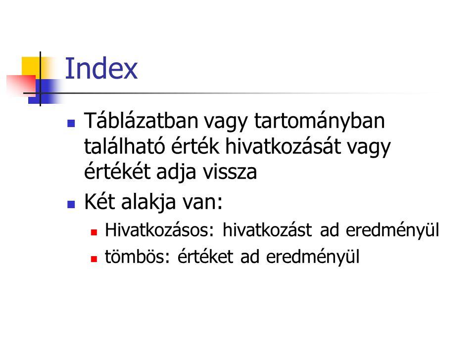 Index Táblázatban vagy tartományban található érték hivatkozását vagy értékét adja vissza Két alakja van: Hivatkozásos: hivatkozást ad eredményül tömbös: értéket ad eredményül