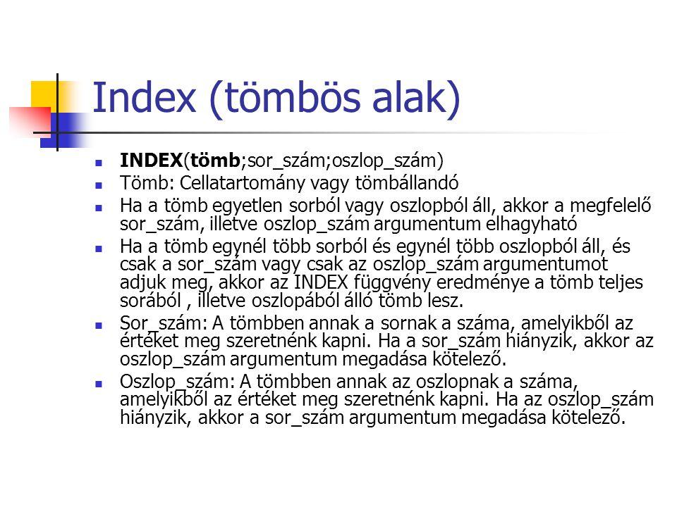 Index (hivatkozásos alak) INDEX(hivatkozás;sor_szám;oszlop_szám;terület_szám) Hivatkozás: Egy vagy több cellatartományra való hivatkozás.