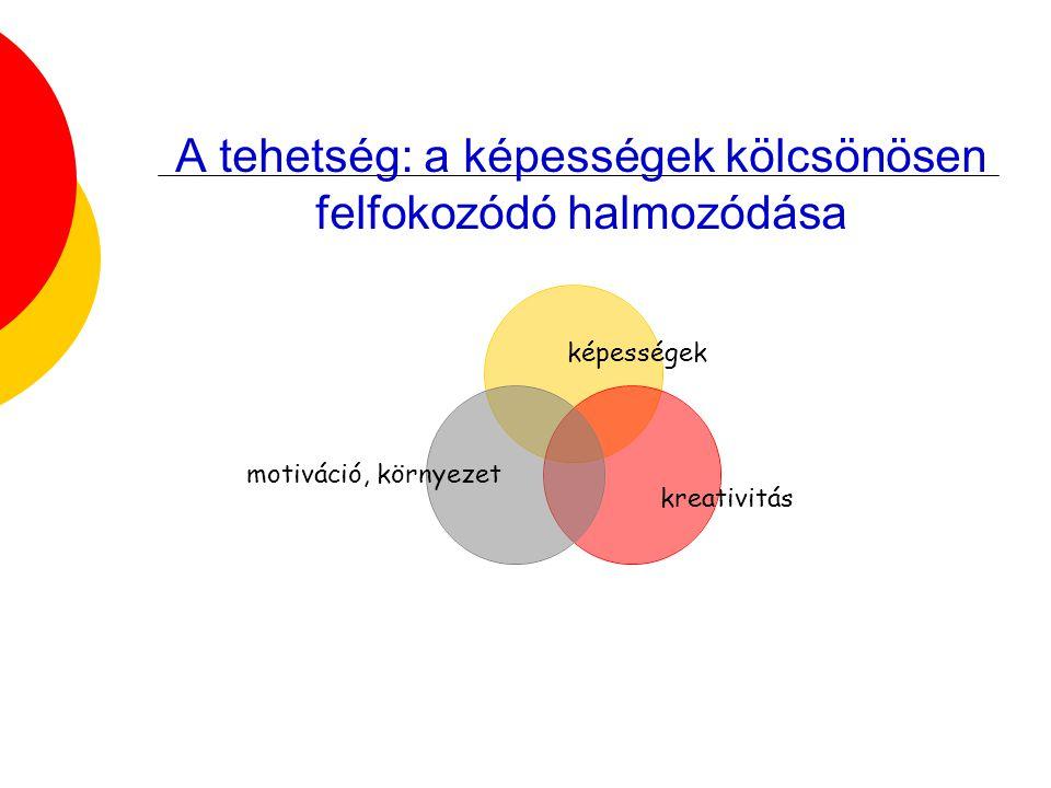 A tehetség: a képességek kölcsönösen felfokozódó halmozódása képességek motiváció, környezet kreativitás