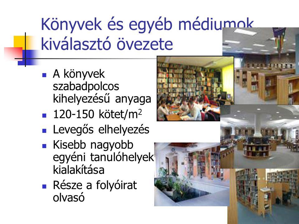 Könyvek és egyéb médiumok kiválasztó övezete A könyvek szabadpolcos kihelyezésű anyaga 120-150 kötet/m 2 Levegős elhelyezés Kisebb nagyobb egyéni tanulóhelyek kialakítása Része a folyóirat olvasó