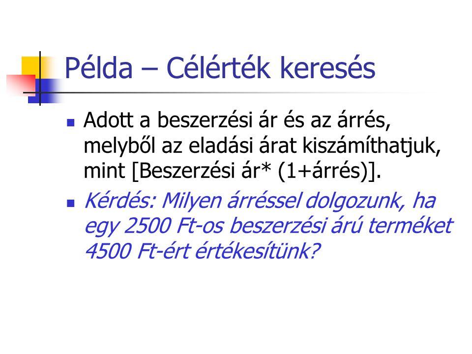Példa – Célérték keresés Adott a beszerzési ár és az árrés, melyből az eladási árat kiszámíthatjuk, mint [Beszerzési ár* (1+árrés)]. Kérdés: Milyen ár