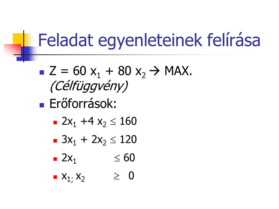 Feladat egyenleteinek felírása Z = 60 x 1 + 80 x 2  MAX. (Célfüggvény) Erőforrások: 2x 1 +4 x 2  160 3x 1 + 2x 2  120 2x 1  60 x 1; x 2  0