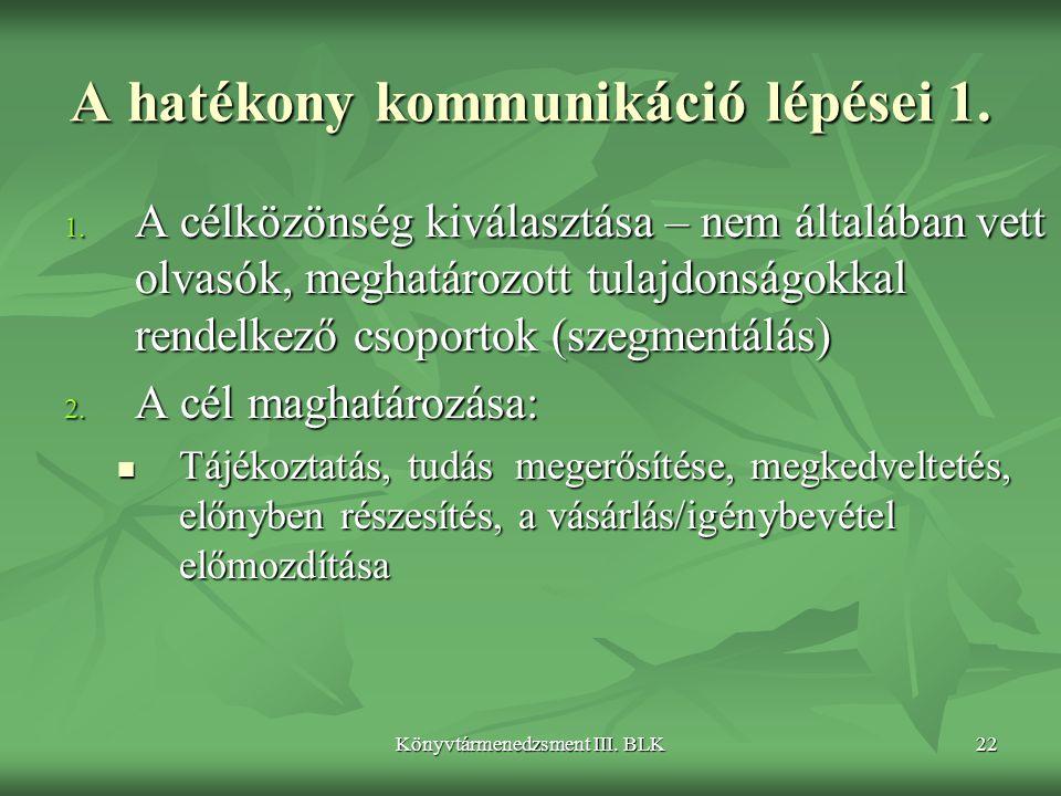 Könyvtármenedzsment III.BLK22 A hatékony kommunikáció lépései 1.
