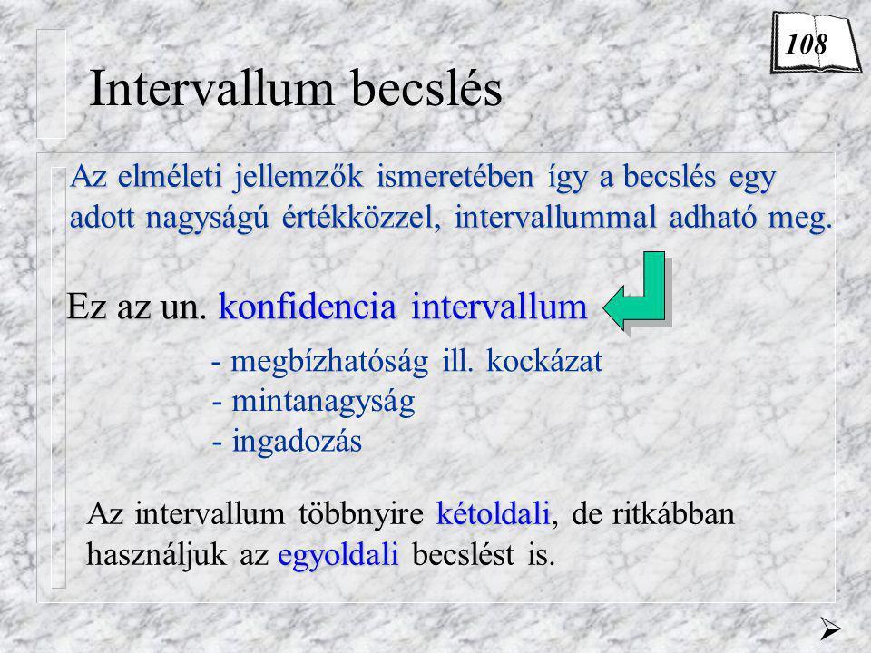 Intervallum becslés Az elméleti jellemzők ismeretében így a becslés egy adott nagyságú értékközzel, intervallummal adható meg. Ez az un. konfidencia i