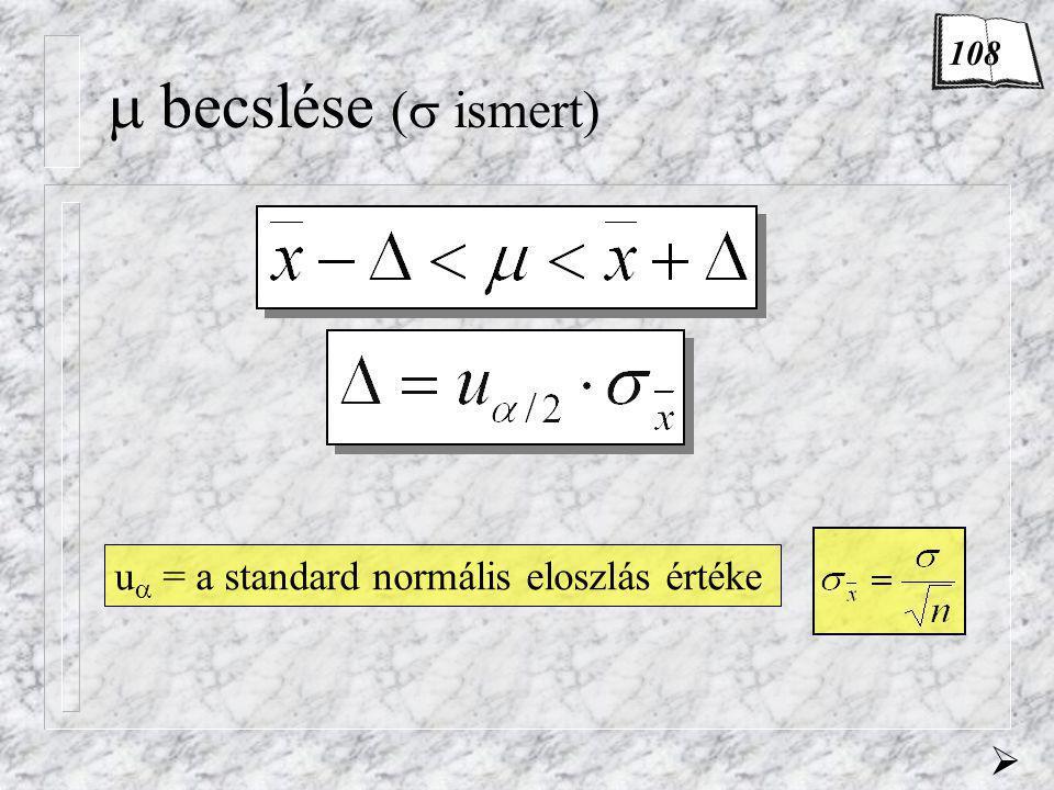  becslése (  ismert) u  = a standard normális eloszlás értéke  108