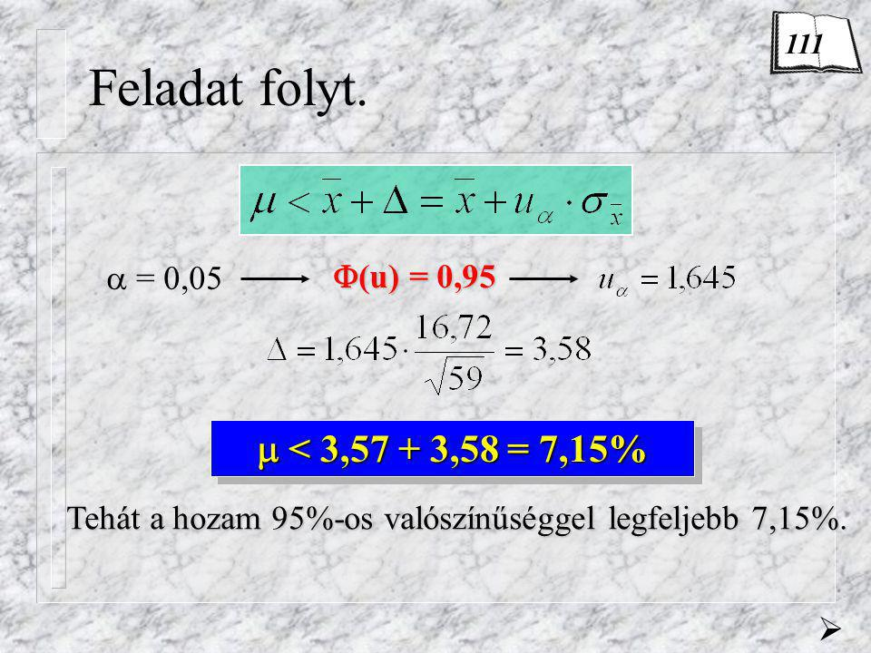 Feladat folyt.  = 0,05  (u) = 0,95  < 3,57 + 3,58 = 7,15% Tehát a hozam 95%-os valószínűséggel legfeljebb 7,15%.  111