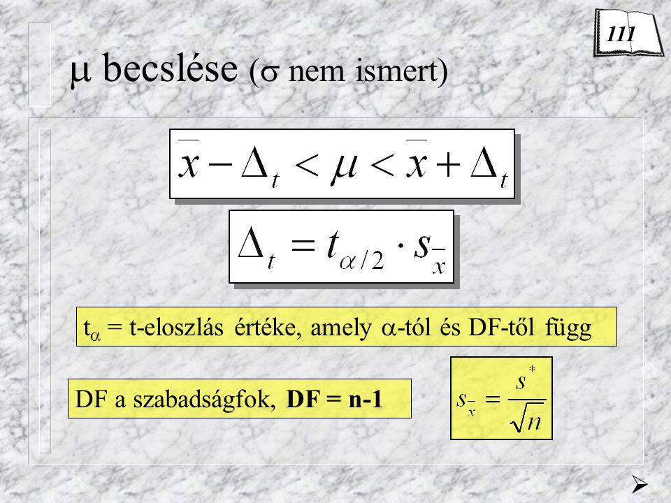  becslése (  nem ismert) t  = t-eloszlás értéke, amely  -tól és DF-től függ  DF a szabadságfok, DF = n-1 111
