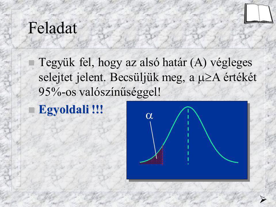 Feladat n Tegyük fel, hogy az alsó határ (A) végleges selejtet jelent. Becsüljük meg, a  A értékét 95%-os valószínűséggel! n Egyoldali n Egyoldali !