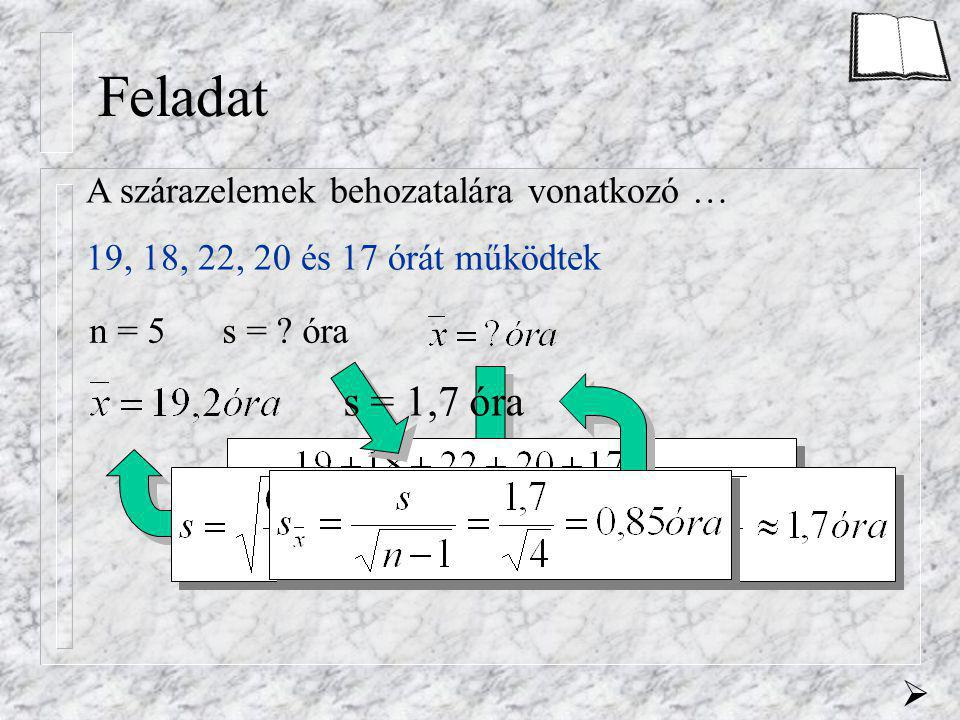 Feladat A szárazelemek behozatalára vonatkozó … 19, 18, 22, 20 és 17 órát működtek n = 5 s = ? óra s = 1,7 óra 