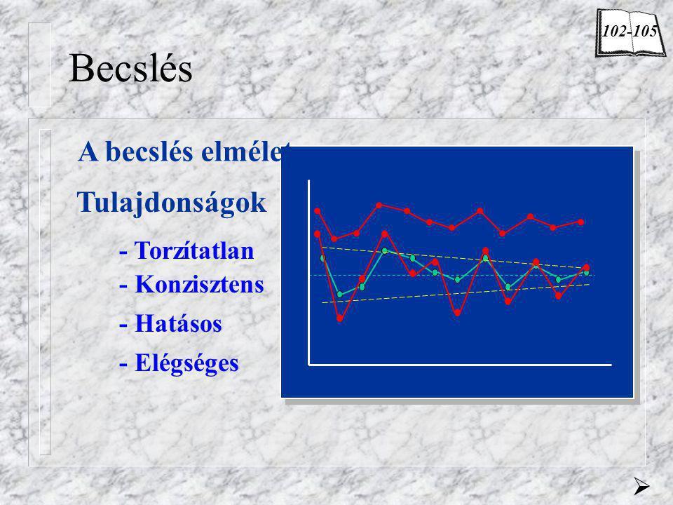 Becslés A becslés elmélete Tulajdonságok - Konzisztens - Torzítatlan - Hatásos - Elégséges  102-105