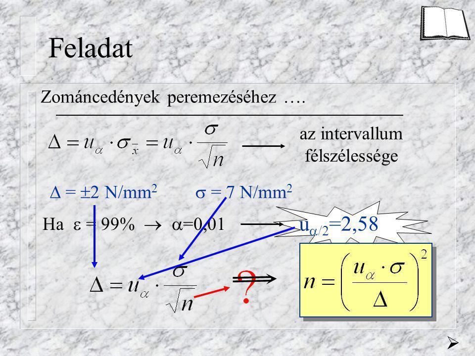 Feladat Zománcedények peremezéséhez …. az intervallum félszélessége  =  2 N/mm 2  = 7 N/mm 2 Ha  = 99%   =0,01 u  /2 =2,58 