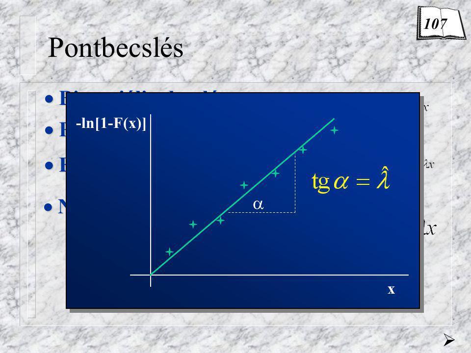 Pontbecslés  Binomiális eloszlás  Poisson-eloszlás  Exponenciális eloszlás  Normális eloszlás lásd a következő oldalon  -ln[1-F(x)] x  107