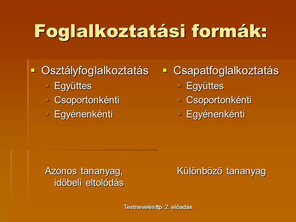 Testnevelés ttp. 2. előadás Foglalkoztatási formák:  Osztályfoglalkoztatás  Együttes  Csoportonkénti  Egyénenkénti Azonos tananyag, időbeli eltoló