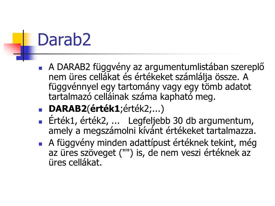 Darab2 A DARAB2 függvény az argumentumlistában szereplő nem üres cellákat és értékeket számlálja össze. A függvénnyel egy tartomány vagy egy tömb adat
