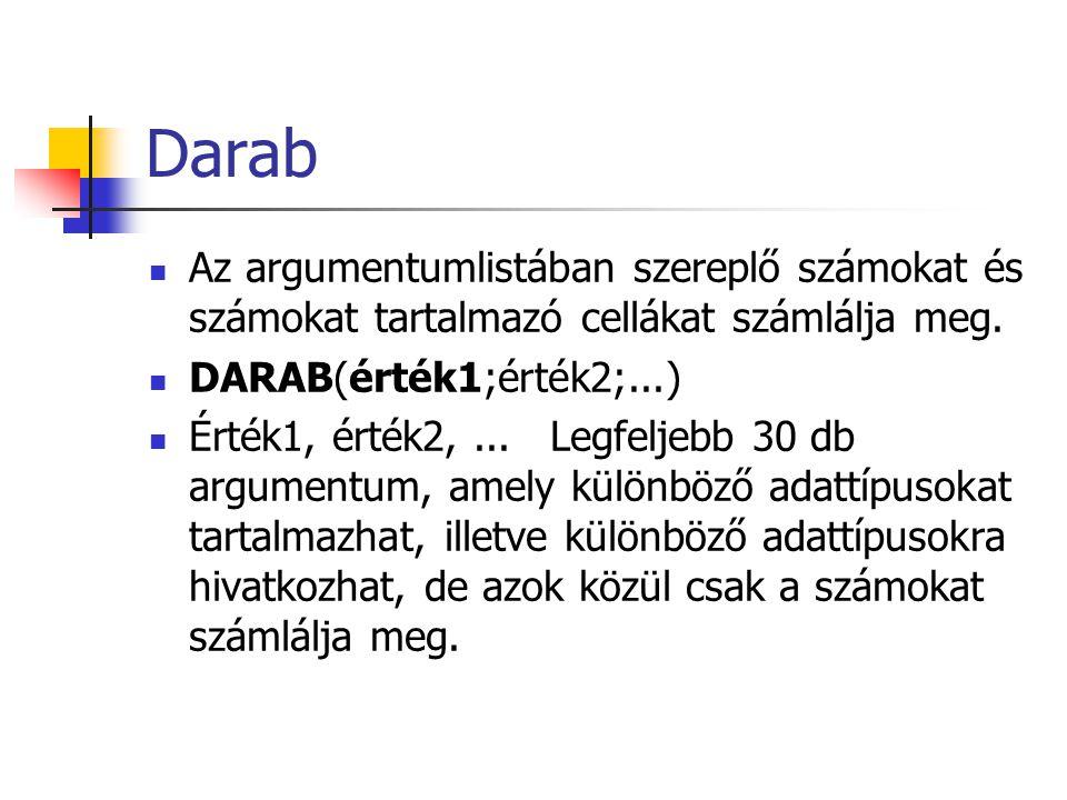Darab Az argumentumlistában szereplő számokat és számokat tartalmazó cellákat számlálja meg. DARAB(érték1;érték2;...) Érték1, érték2,... Legfeljebb 30