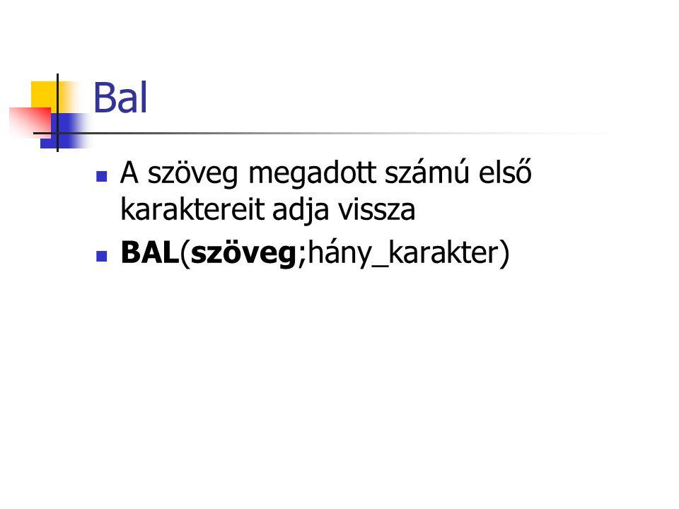 Bal A szöveg megadott számú első karaktereit adja vissza BAL(szöveg;hány_karakter)
