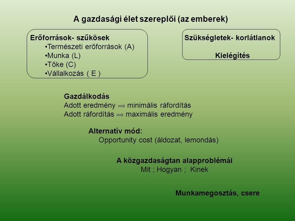 A gazdasági élet szereplői (az emberek) Erőforrások- szűkösek Természeti erőforrások (A) Munka (L) Tőke (C) Vállalkozás ( E ) Szükségletek- korlátlano