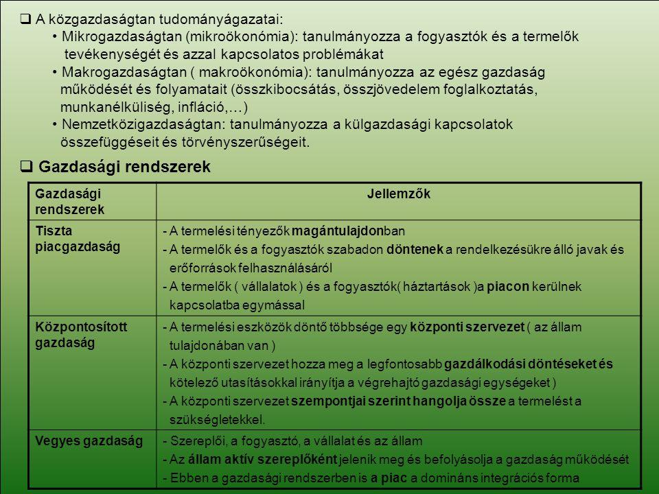  A közgazdaságtan tudományágazatai: Mikrogazdaságtan (mikroökonómia): tanulmányozza a fogyasztók és a termelők tevékenységét és azzal kapcsolatos pro