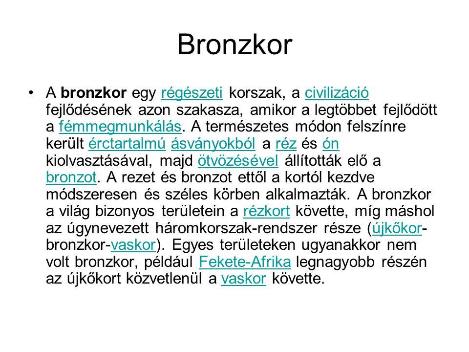 Bronzkor A bronzkor egy régészeti korszak, a civilizáció fejlődésének azon szakasza, amikor a legtöbbet fejlődött a fémmegmunkálás. A természetes módo