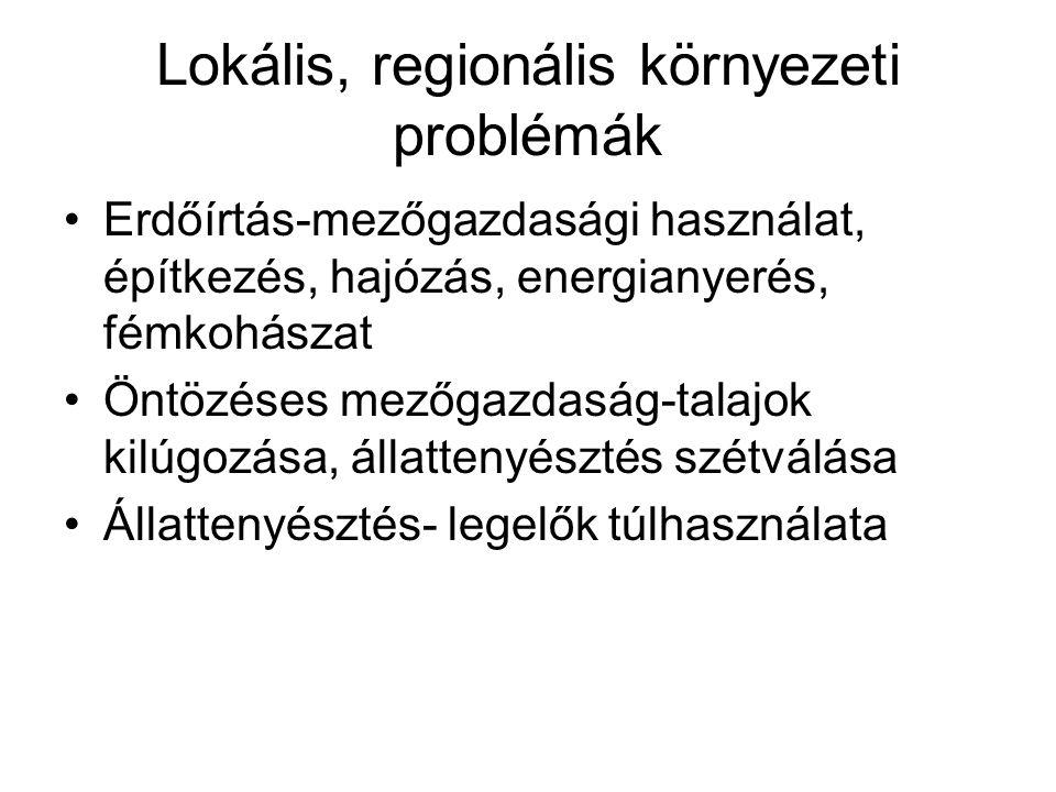 Lokális, regionális környezeti problémák Erdőírtás-mezőgazdasági használat, építkezés, hajózás, energianyerés, fémkohászat Öntözéses mezőgazdaság-tala