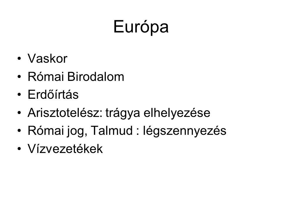 Európa Vaskor Római Birodalom Erdőírtás Arisztotelész: trágya elhelyezése Római jog, Talmud : légszennyezés Vízvezetékek