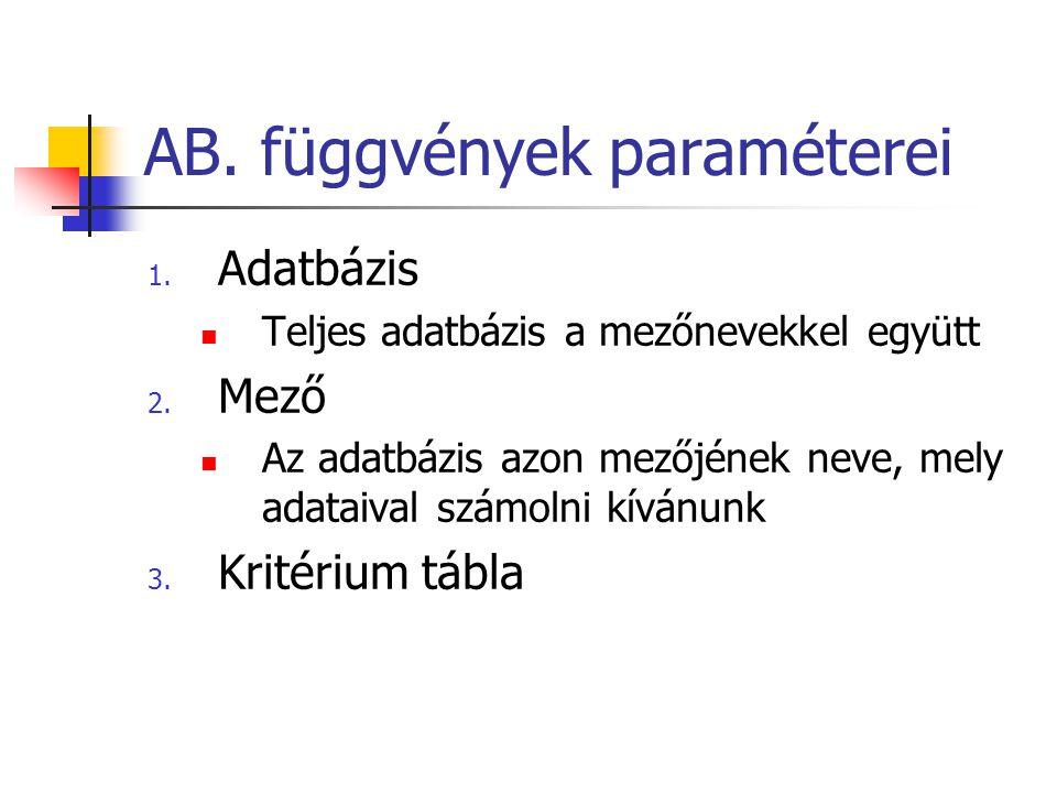 AB.Darab2 Összeszámlálja egy adatbázis vagy lista feltételeknek megfelelő oszlopaiban a nem üres cellákat AB.DARAB2(adatbázis;mező;kritérium) A mező argumentum megadása nem kötelező.