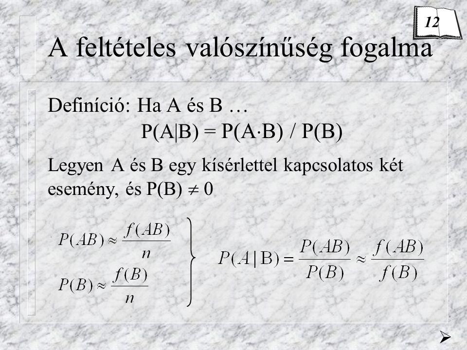 A feltételes valószínűség fogalma Definíció: Ha A és B … P(A B) = P(A  B) / P(B) Legyen A és B egy kísérlettel kapcsolatos két esemény, és P(B)  0 